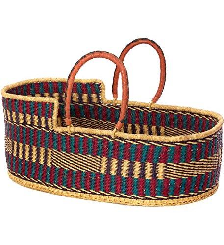Ghanaian Moses Basket Baby Bassinet in Blue & Purple Tones