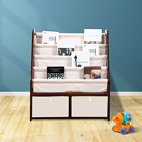 MallBest Childrens Bookshelf Kids Sling Book Rack with Two Storage Boxes and Toys Organizer Shelves Natural Solid Wood Baby Bookcase by MallBest (Image #6)