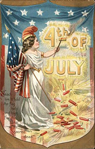 - 4th of July - Liberty Holding Flag and Torch Original Vintage Postcard