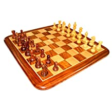 "21"" X 21″ Collectible Rosewood Wooden Chess Game Board Set+wooden Crafted Pieces"