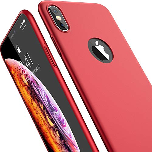 CASEKOO iPhone Xs Case, Ultra Thin Slim Fit Case Hard Matte Finish Grip Anti-Scratch Protective Cover Case Compatible with iPhone Xs 5.8 inch [Shell Series]-Red