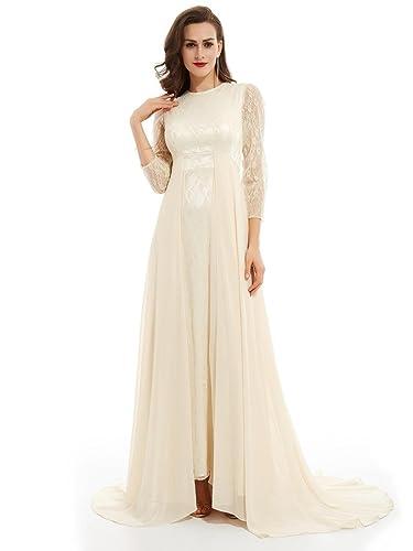 Sisjuly Women's Long Sleeve Lace A-Line Evening Prom Dress