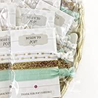 Mint Gold Baby Shower Favours - Hair Ties (5 Pack)