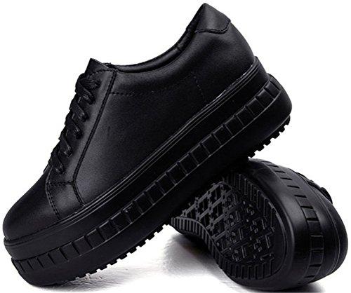 Tacco A Spillo Asso Donna Tacco Medio, Sneakers Allacciate Casual 2 Colori Taglia 5,5-8 Nero