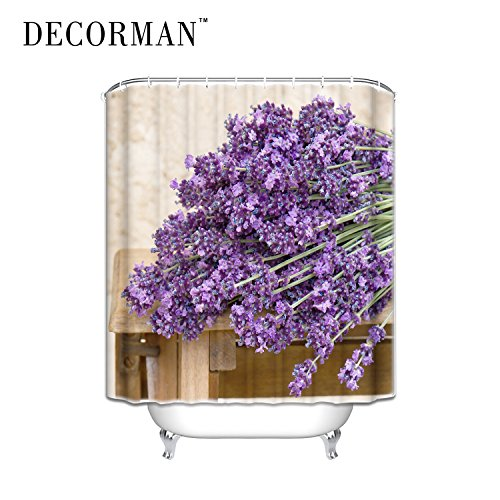 Prime Leader Custom Gift Bouquet of Purple Lavender Flowers,Bathroom Mildew Proof Polyester Fabric Shower Curtain,36