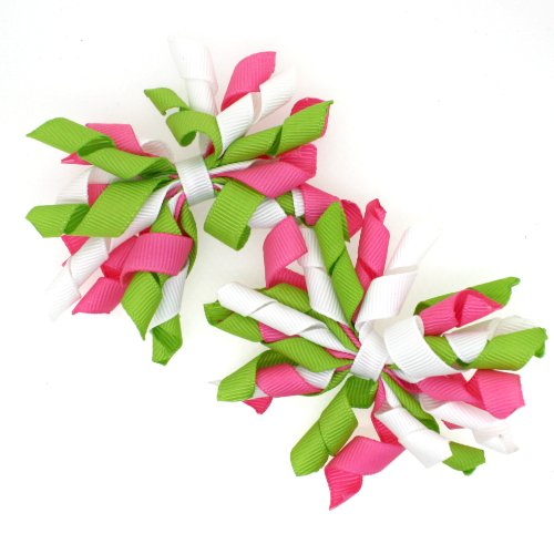 Mini Korker Hair Bow Clips Set of 2 (Hot Pink/lime/white) - Girls Curly Hairbows