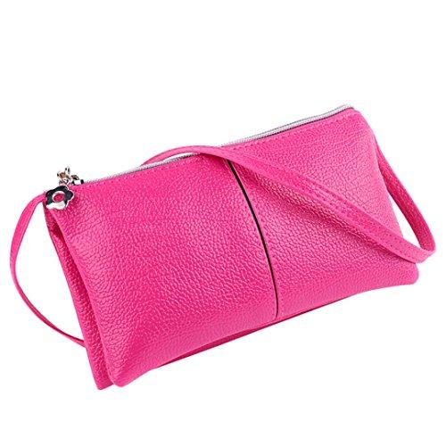 aribelly-women-leather-shoulder-bag-bifold-purse-zipper-clutch-handbag-wallet-hot-pink