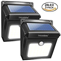 Solar Lights, Neloodony Solar Motion Sensor Security Lights 28 LED Waterproof Solar Powered Light Outdoor Lights for Garden, Fence, Patio, Yard, Walkway, Driveway, Stairs, Outside Walletc.
