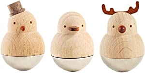 Set of 3 Funny Sculpture Ornaments Decoration Animal Statue Figurines, Creative Hand Carved Wood Animals Christmas Roly Poly Toy, Best Small Housewarming Gift for Home Office Décor Desktop Decorative
