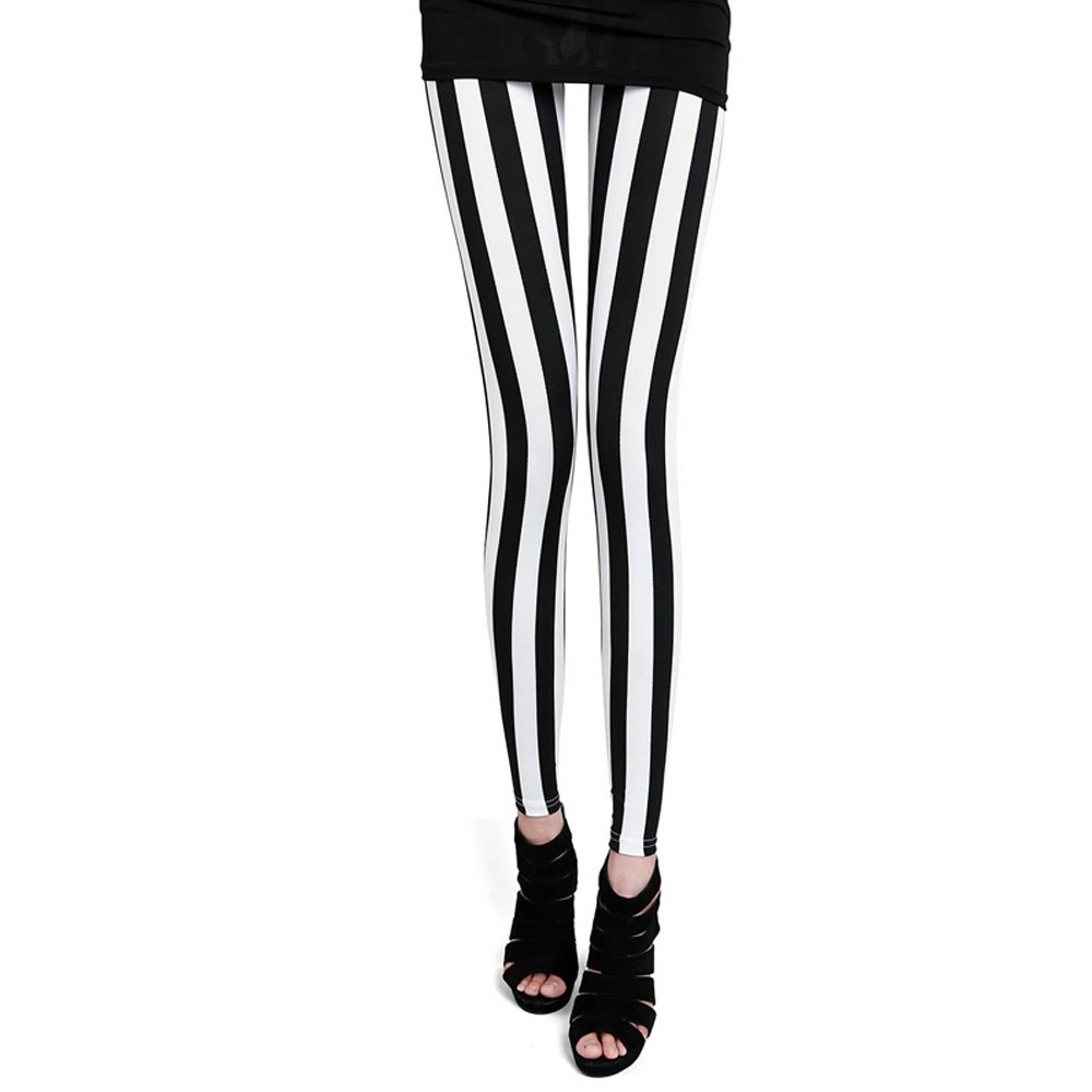 Xelue FF Women Girl Fashion Sexy Punk Gothic Soft Breathable Elastic Stretch Tights Leggings Pants (Stripe)