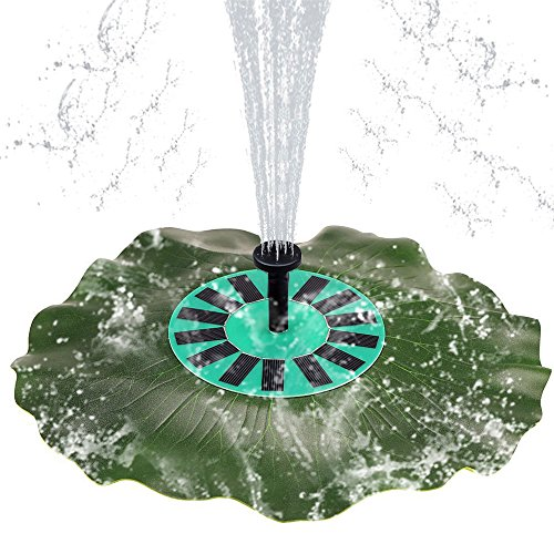 Tiding Solar powered Floating Fountain Pump, 1.4W Lotus leaf Shaped Free Standing Solar Decorative Fountain Brushless Pump for Birdbath, Yard, Garden and Small Pond.