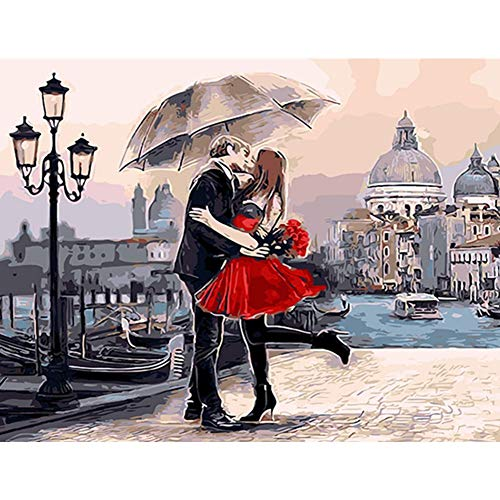 DIY 5D Diamond Painting Kit, Full Diamond Embroidery Rhinestone Arts Craft Supply for Home Wall Decor Couple Kissing and Playing Umbrella 15.7x11.8in 1 Pack by Aimerson
