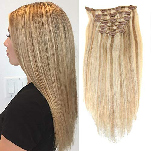LaaVoo 20 Inch Clip in Hair Extensions 100% Remy Human Hair Extensions #18 Ash Blonde and #613 Bleach Blonde Highlights 7pcs Full Head 120g/set