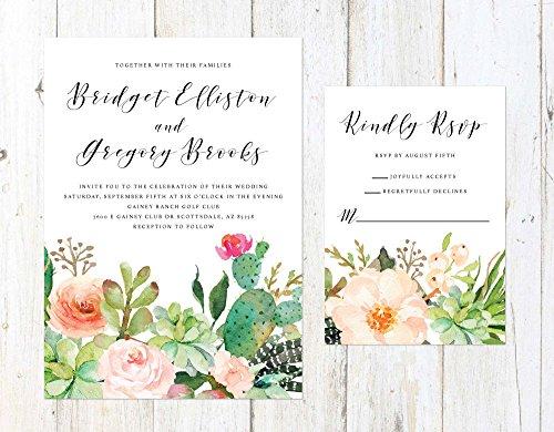 Succulent Wedding Invitation, Desert Cactus Invitation, Palm Springs Invitation, Arizona Wedding by Alexa Nelson Prints