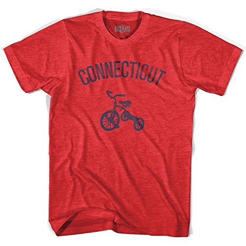 State Tricycle - Connecticut State Tricycle Adult Tri-Blend T-shirt, Heather Red, Adult Small