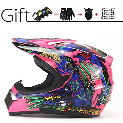 CHUDAN Ms. Motorcycle Helmet Pink Full Face Motocross Helmet, DOT Certification, Girl Off Road Motorcycle Helmet Downhill DH Racing Motorcycles Protection Safety Helmet (5 He Set),L