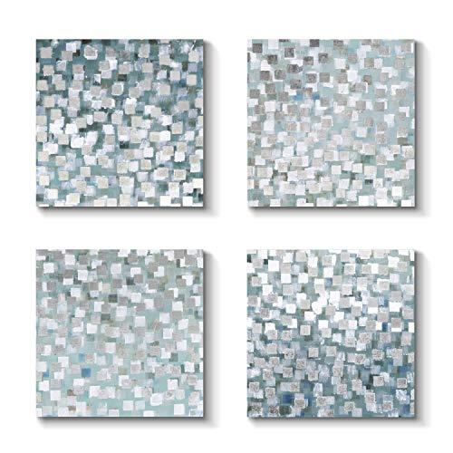 Abstract Canvas Prints Wall Art - Gray & Silver Blocks Artwork Painting for Wall Decor (12