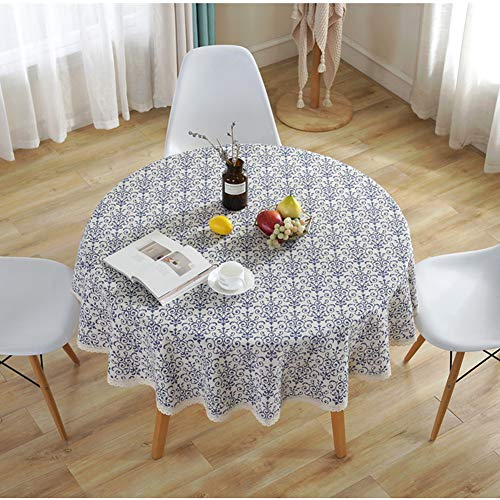 (AMZALI Vintage Washable Cotton Linen Fabric Navy Damask Pattern Decorative Macrame Lace Round Tablecloth Dinner Picnic Table Cloth Home Decorative Table Top Cover (60 inch Diameter))