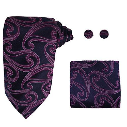 Y&G H5086 Purple Paisley Mens Accessories Gift Idea For Oktoberfest Silk Tie Cufflink Hanky Set -