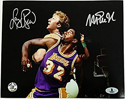 cc008f40f Image Unavailable. Image not available for. Color  MAGIC JOHNSON + LARRY  BIRD Signed 8x10 Photo  2 Lakers Celtics Beckett BAS COA