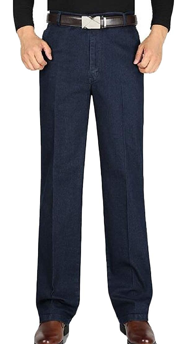 Wofupowga Mens Jean Casual Stretchy Faded Denim Straight Fit Pants Trousers