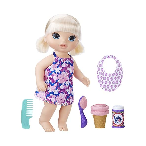 BABY ALIVE Magical Scoops Baby: Blonde Baby Doll with Dress and Accessories: Ice Cream Cone, Scooper, Comb and More, Perfect Toy for 3 Year Old Girls and Boys and Up