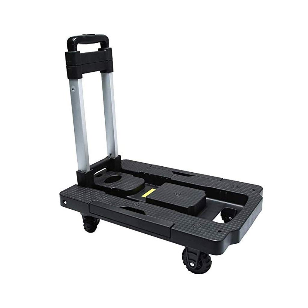 PAN Folding Luggage Cart - Lightweight Aluminum Hand Truck with Wheels - Utility Cart - Portable Dolly for Travel, Moving and Office Use (Black)