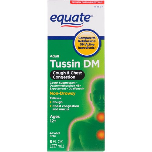 Equate - Tussin DM - Compare to Robitussin DM - Cough Suppressant/Expectorant Syrup, 8 Fluid Ounce