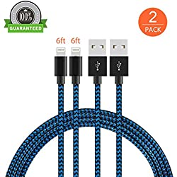 Lightning Cable, KMISS 2Pack iPhone Charger Cord nylon braided for Apple iphone SE, iPhone 7, 7Plus, 6s, 6s+, 6+, 6,5s 5c 5,iPad Mini, Air, iPad 6, iPod (2PACK 6FT)