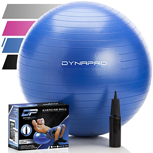Exercise Ball - 2,000 lbs Stability Ball - Professional Grade – Anti Burst Exercise Equipment for Home, Balance, Gym, Core Strength, Yoga, Fitness, Desk Chairs (Blue, 75 Centimeters)
