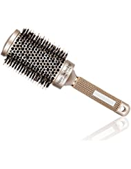 Elephbaby Round Barrel Anti-Static Hair Brush with Boar Bristles, Nano Thermal Ceramic Ionic Tech, for Hair Drying, Styling, Curling, Adding Hair Volume and Shine,Gold Color(2 inch)