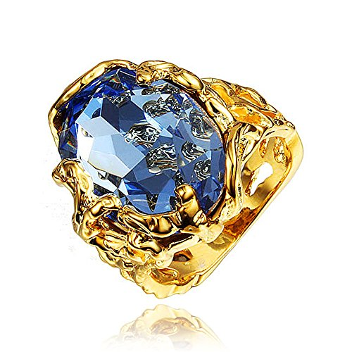 Vintage Gold Plated Boho Jewelry for Women Party African Big Blue Nature Stone Ring ()