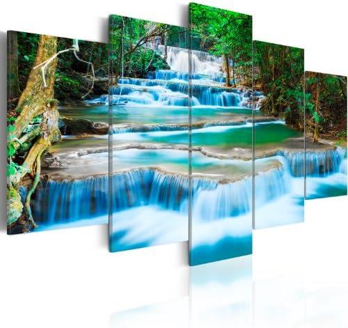 artgeist Handart Canvas Wall Art Waterfall 225×112 cm / 88.58″x44.3″ 5 pcs Painting Canvas Prints Picture Artwork Image Framed Contemporary Modern Photo Wall Home 030212-101