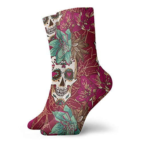 YUANSHAN Socks Flower Skull Women & Men Socks Soccer Sock Sport Tube Stockings Length 11.8Inch -