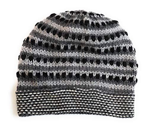 Hand-Knotted Chullo Winter Hat Grey, White, Black. Multicolor. Alpaca Wool Blend Inca Culture Design. Beanie Hat. Rustic Unisex