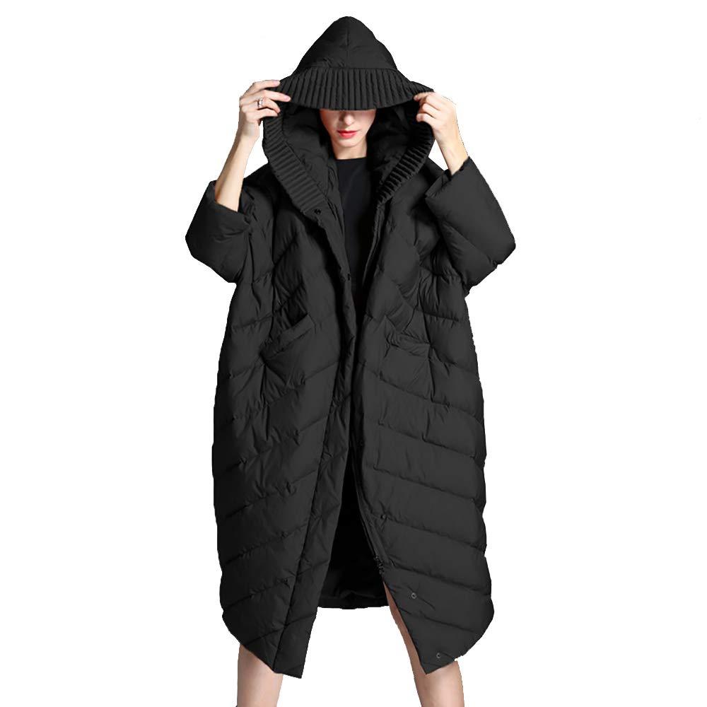 Black Women's Long Jacket Coat,Winter Overcoat Womens Hooded Ultra Light Down Jacket Slim Solid Long Down Jacket Female Portable Parkas,Caramel,XS