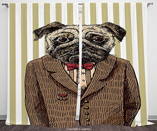 (Rod Pocket Curtain Panel Polyester Translucent Curtains for Bedroom Living Room Dorm Kitchen Cafe/2 Curtain Panels/108 x 72 Inch/Pug,Hand Drawn Sketch of Smart Dressed Dog Jacket Shirt Bow Suit)