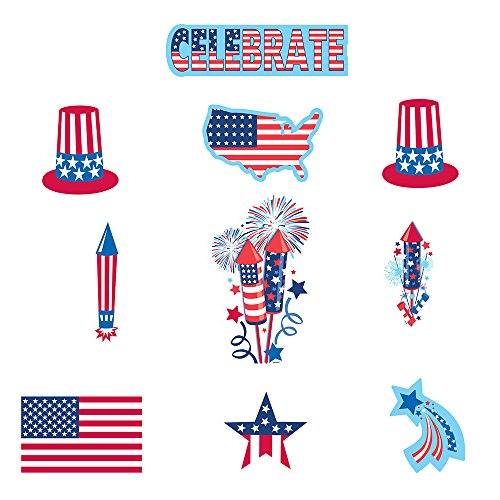 Olympic Theme Party Costume Ideas (30 Piece Bulk Pack 4th of July Paper Cutout Decorations Patriotic Red White And Blue Party Favor Supplies Accessories For Indoor and Outdoor Use)