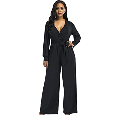 8d9e8653bee0 Fashion Plus Size Sexy v Neck Long Pant Women Jumpsuit Romper Long Sleeve  Tunic Party with