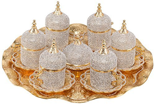 Terrific Gifft Handmade Copper Turkish Coffee Espresso Serving Set Swarovski Crystal Coated Cup (Upper Crust) V.i.p Product