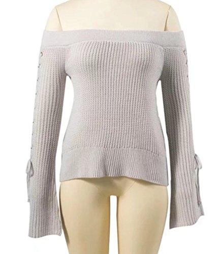 YAANCUN Mujer Otoño E Invierno Diseño Sin Tirantes Suéter Manga Larga Top Gris