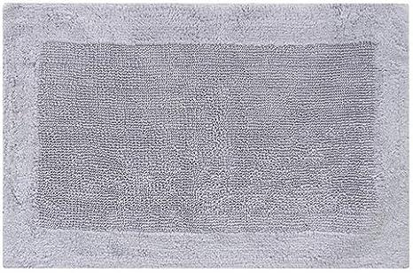 Rt Designer Collection Lush Diamond Jacquard Bath Mat Silver 17 x 24 in.