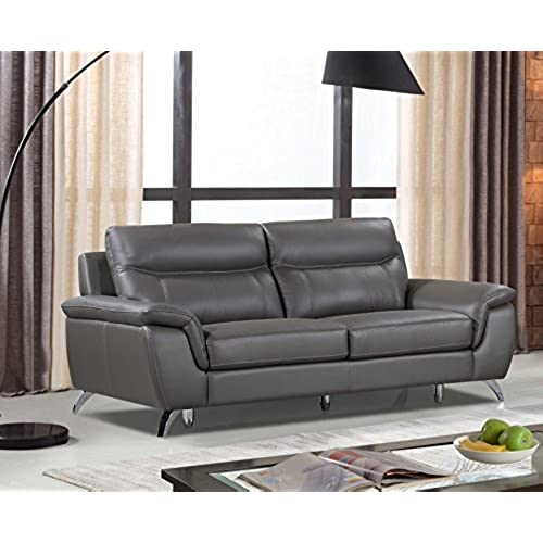 Cortesi Home Chicago Genuine Leather Sofa, Grey