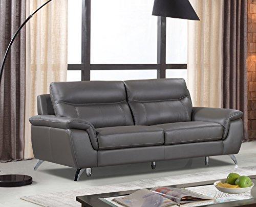 Genuine Leather Sofa (Cortesi Home Chicago Genuine Leather Sofa, Grey)
