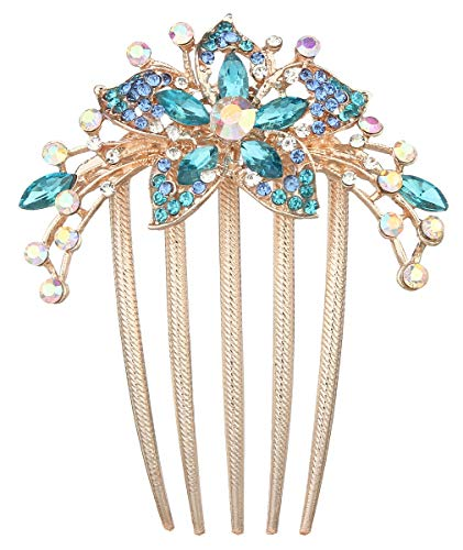 (La Vogue Handmade Flower Crystal Rhinestone Hair Comb Gold Wedding Side Hair Clips Bridal Hair Accessories)