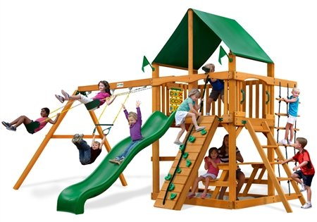Gorillaplay Sets Home Backyard Playground Chateau II Swing Set with Amber Posts and Deluxe Green Vinyl Canopy