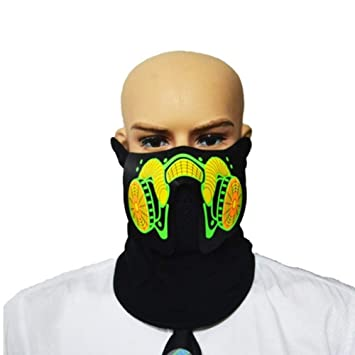 WHFDRHWSJMJ Mascara Halloween Terror de LED Cosplay Control de Voz Patrón dinámico Halloween Terror Máscara Facial