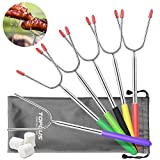 TOPLUS Marshmallow Roasting Sticks, 6 Pack Telescoping Extending Stainless Steel Smores Skewers Hot Dog Forks, Extra Long 38'' Outdoor Fireplace Campfire Accessories Kit for Fire Pit, Bonfire, Camping