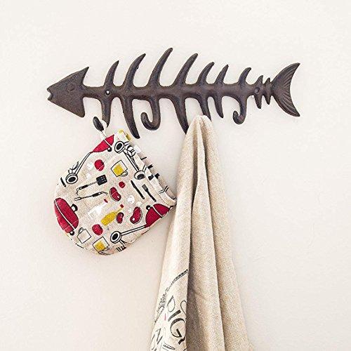 "Decorative Fish Bones Wall Mount Towel Rack by Comfify - Stylish Cast Iron Hanger w/ 4 ""Fish"" Hooks | Includes Screws and Anchors - Fish Bones Towel Hanger"