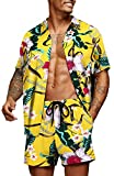 COOFANDY Men's Flower Casual Button Down Short Sleeve Hawaiian Shirt Suits